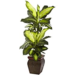 Nearly Natural 6731 Golden Dieffenbachia with Decorative Planter, Green