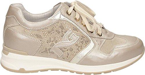 Beidge Para Piel Mujer De Giardini Zapatos Nero Cordones nBx0pqIC