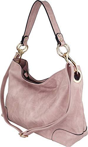 B BRENTANO Large Hobo Shoulder Bag with Snap Hook Hardware (Blush)