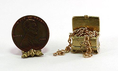 Dollhouse Miniature Gold Treasure Chest with Treasure