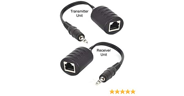 3 5mm Stereo Mini Audio Balun Extender Over Cat5/Cat6 Cable