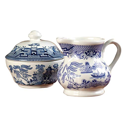Churchill China Blue Willow Dinnerware (Sugar Bowl & Cream Jug - China Jug Cream