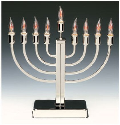 Polished Chrome Electric Menorah by J Levine/Millennium by J Levine/Millennium