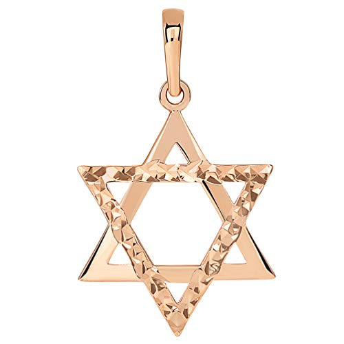 (14k Rose Gold High Polished and Sparkle Cut Hebrew Star of David Pendant (25 x 17.5mm))