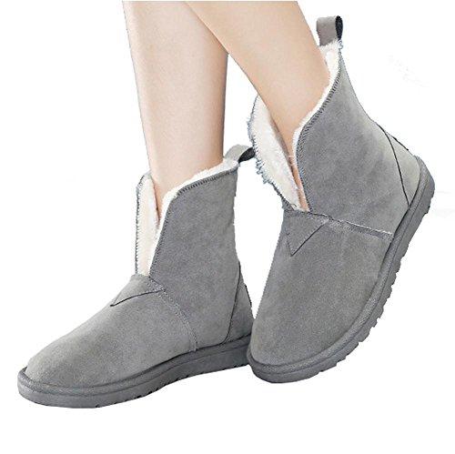 Coton Unie Bottes Talon 40 De Gris Épais Femmes Daim Chaud Peluche Courtes Occasionnels Chaussures En En Plat Couleur wBppqFE6