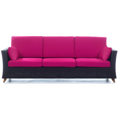 RATTAN 4 Seater All Weather Wicker 8 Ft. SOFA /w Fuchsia cushion