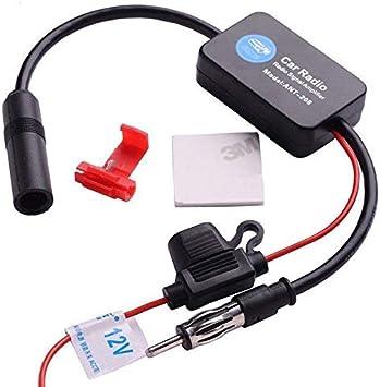 Lanyifang Amplificador de Señal Intensificador de Señal de Coche Estéreo FM y Am Antena de Señal de Radio Señal Aérea Amplificador en Línea Negro ...