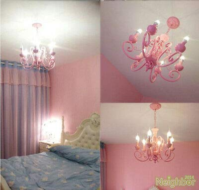 FidgetGear Contemporary Pink Chandelier Iron LED Pendant Light Princess Room Ceiling Lamp by FidgetGear (Image #3)