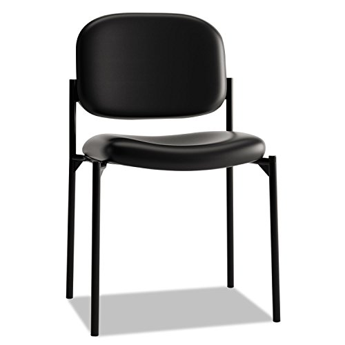 HON Scatter Guest Chair - Leather Stacking Chair Office Furniture, Black (Seat Armless Stack Chair)
