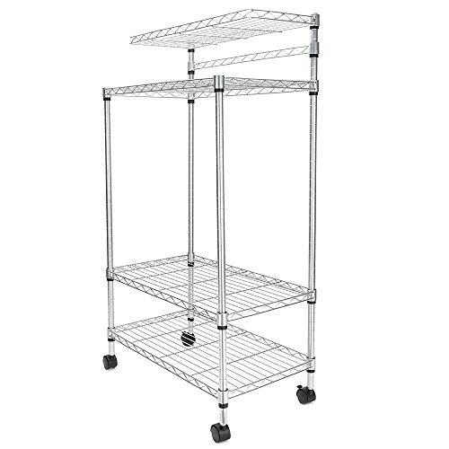 TimmyHouse Adjustable Kitchen Bakers Rack Shelf Microwave Oven Stand Storage Cart 4 Layer]()