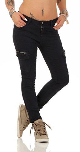 5778 Fashion4Young Damen Jeans Röhrenjeans Hose Stretch-Denim Boyfriend Röhre Damenjeans Dunkelblau 5KTvkoxB