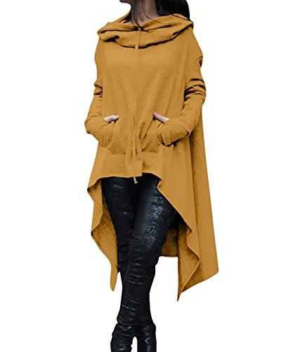 ThusFar Women's Loose Solid Color Pullover Hoodie Irregular Hem Sweatshirts Dress Yellow 2XL -