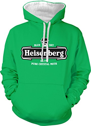 Amdesco Men's Heisenberg Blue Sky Crystal 99.1% Pure Two Tone Hoodie, Kelly/White Large ()