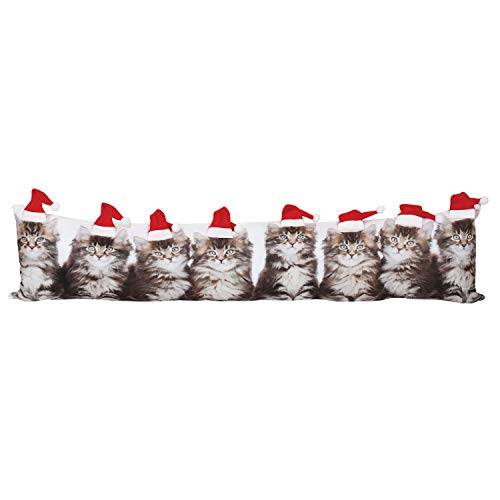 WHAT ON EARTH Santa Cat Draft Stopper/Pillow - Photorealistic Christmas Door and Window Breeze Guard/Accent Cushion - 35.5 Wide