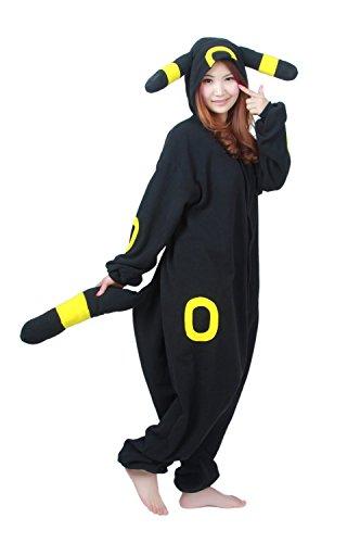 Anime Onesie Pikachu Pokemon Onesies Cosplay Costume Kigurumi Pajamas Onsie S-XL (Black, S)