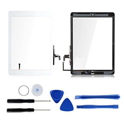 Touch Screen Digitizer Replacement for iPad air 1st Generation A1474 A1475 A1476 GSM CDMA, 9.7 Front Glass Repair Kit Include Home Button and pre-Install Adhesives (White)
