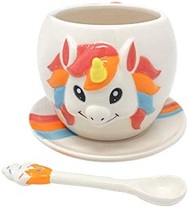 TMR Global 3 قطعه لیوان تک شاخ ، قطعه لیوان قهوه خنک ، مجموعه هدایای چای رنگین کمان ، رنگین کمان