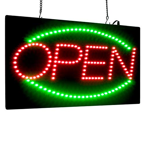- Leadleds 1910-2 Open Sign Portable 19-inch Height Vertical Neon Sign with 2 Light Modes for Bar Tattoo Salon Store Beauty Spa Business