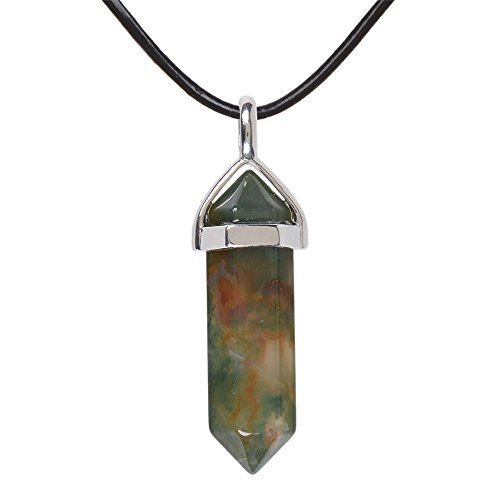 Natural Green Indian Agate Gemstone Hexagonal Pointed Reiki Chakra Pendant Genuine Leather Necklace 18