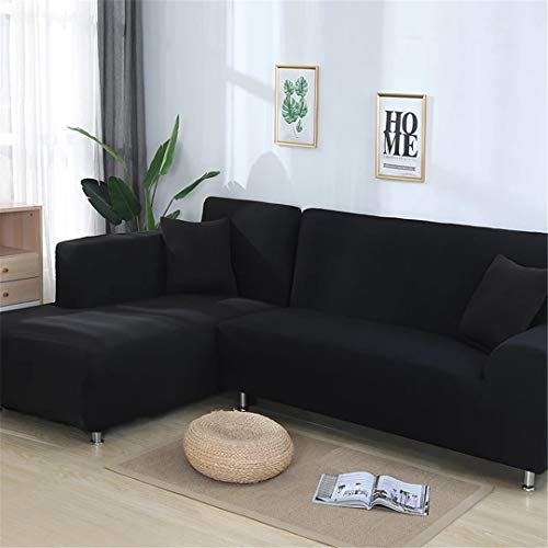 2 Pieces Covers for Corner Sofa Living Room Universal Stretch Elastic L Shaped Sofa Cover Chaise Longue Covers Solid Color Black 145-190cm 145-190cm