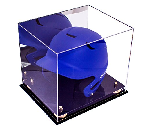 Deluxe Acrylic Baseball Batting Helmet Display Case with Mirror and Gold Risers (A012-GR) (Display Helmet Case Acrylic)