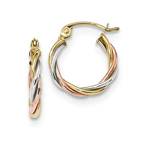 18k Tone Earrings Two (10k Tri Color Yellow White Gold 2.5mm Twisted Hoop Earrings Ear Hoops Set Fine Jewelry For Women Gift Set)