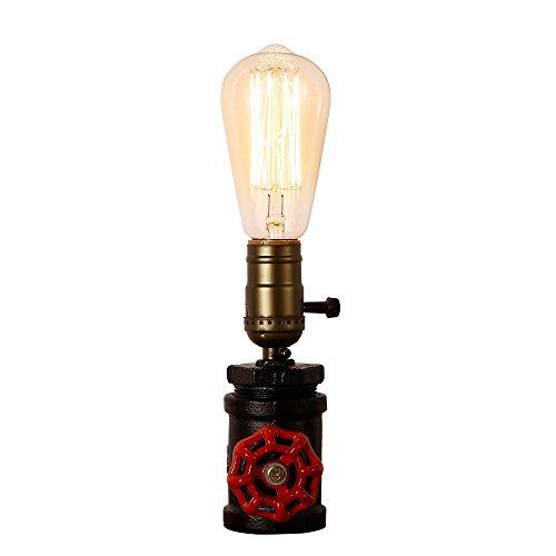 Injuicy Lighting Loft Vintage Industrial Wrought Iron Metal E27 Edison Steampunk Table Lights Retro Water Pipe Desk Accent Lamps for Cafe Bar Bedside Bedrooms Decoration with - Steampunk Retro