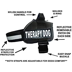 """Therapy Dog Harness Service Working Vest Jacket Removable Patches,Purchase Comes with 2 Therapy Dog Reflective pathces. Please Measure Dog Before Ordering. (Girth 30-42"""", Black)"""