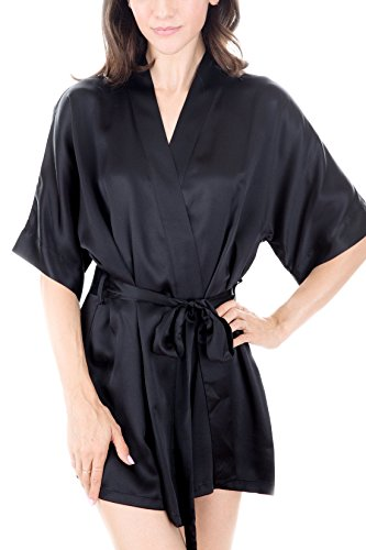 Charmeuse Silk Belt - Women's Luxury Sleepwear 100% Silk Robe by Oscar Rossa, Black, L