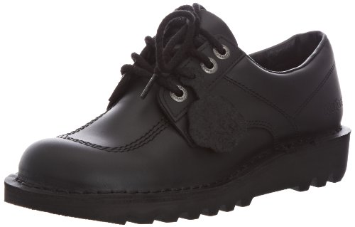 44e905598c5090 Kickers Mens Kick LO Black Leather LACE UP Smart Work School Shoes Size 9