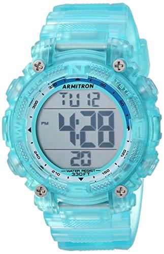 Armitron Sport Women's 45/7099TLB Digital Chronograph Translucent Light Blue Resin Strap Watch