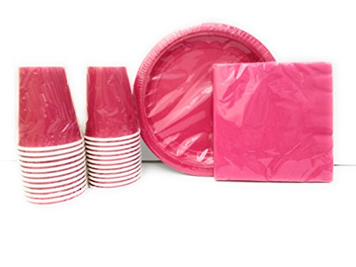 Party Supplies Set for 20 guests! Includes: 20 Paper Plates, 20 Napkins & 24 Cups. (Hot (Hot Pink Party Plates)