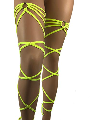 Exotic Dancewear Leg Wraps Rave neon glow UV Gartinis Garter Outfits Club Style Women's Intimates Rave Fashion Garter Club wear Rave Girl by Freya's Boutique