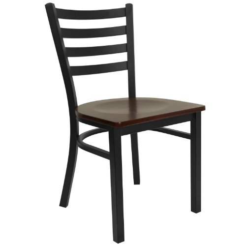 - HERCULES Series Black Ladder Back Metal Restaurant Chair - Mahogany Wood Seat [XU-DG694BLAD-MAHW-GG]