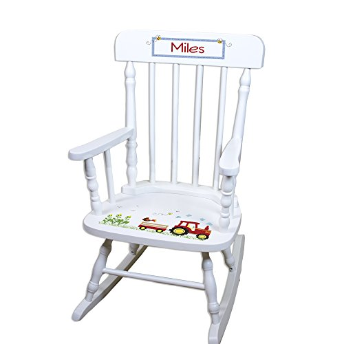 Children's Personalized White Red Tractor Rocking Chair Review