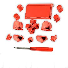 L1 R1 L2 R2 Trigger Buttons Full Buttons Chrome Red Set for PS4 Controller DualShock 4 with Screwdriver for free