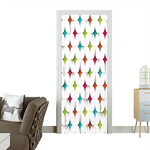 Homesonne Decorative Door Decal Abstract Geometric Design Modern Graphic Mosaic Grid Mesh Pattern Image Stick The Picture on The doorW38.5 x H77 INCH