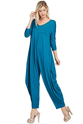 [Annabelle Women's Long Sleeve Comfy Harem Jumpsuit Romper with Pockets Small Coral Blue J8002] (Blue Spandex Suit)