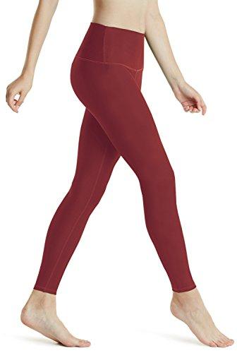 (Women High Waist Tummy Control Athletic Pants Leggings for Yoga Red XL)