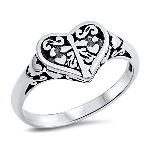 Filigree Heart Cross Oxidized Purity Ring .925 Sterling Silver Band Size 5 ()