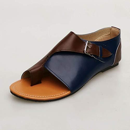 Jaune Plat Sunnywill Bleu Et Violet plates Style Romain Vert Confortables Doux Loisir Sandale Bleu Gris Sandales Lanière Femmes x4C16x