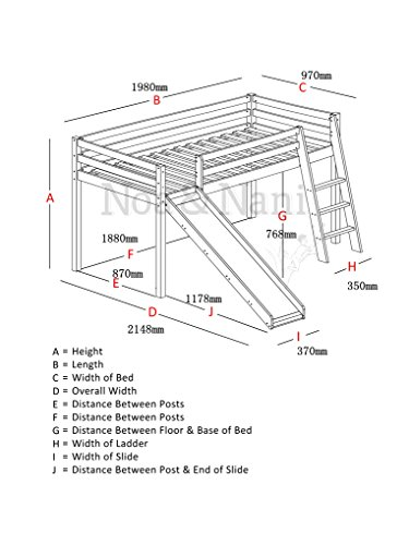 mid sleeper bunk bed white pine cabin bed with slide blue design tunnel 6970wgblue amazoncouk kitchen u0026 home