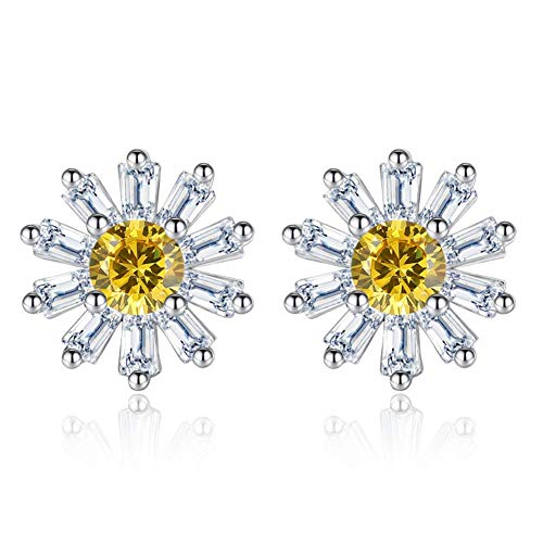 (I'S ISAACSONG Hypoallergenic Flower Stud Earrings, 925 Sterling Silver Cubic Zirconia Crystal Charm Ear Studs for Women and Girls - Daisy, Cherry, Lotus (CZ Daisy Flower Studs))