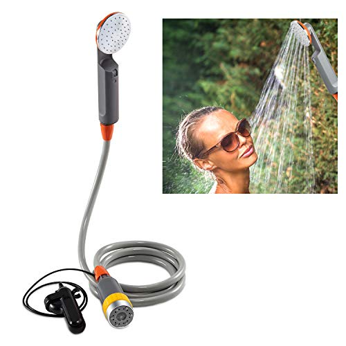 Ivation Portable Camping Shower | Compact Handheld & Hands-Free Rechargeable Outdoor Shower Head & Cleaning System w/ 3.7V Pump, 6-Ft Hose, Bidet Head, Removable Filter, Multiuse Hook & USB -