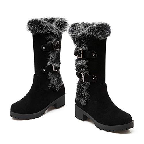 DETAWIN Womens Mid Calf Boots Buckle Mid Heel Platform Round Toe Slip-On Fashion Winter Snow Boots