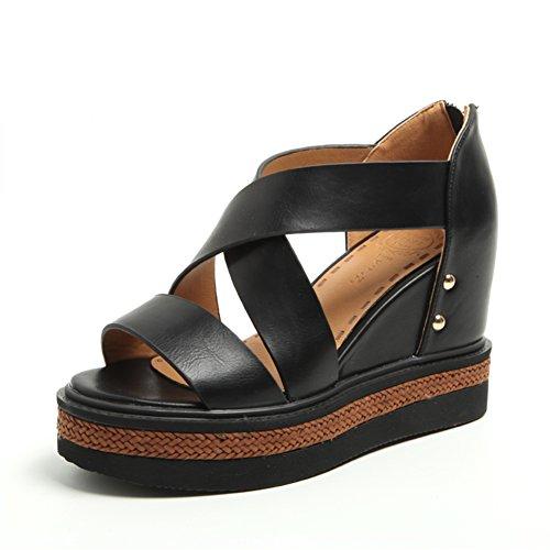 Slope con zapatos de suela gruesa plataforma/Aumento de las correas con los zapatos romanos A