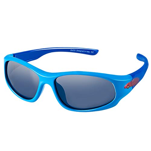 DUCO Kids Sports Style Polarized Sunglasses Flexible Frame For Boys and Girls (Blue Frame Blue Temple, 2.16)