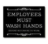 Employees Must Wash Hands Sign (Black 3 x 2.5'')