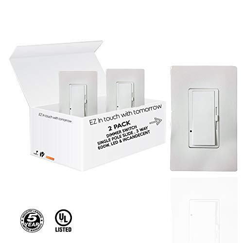 (Single Pole Slide, Dimmer Switch, 3-Way 600W, LED And Incandecent (No Plate Included) 2 pack)