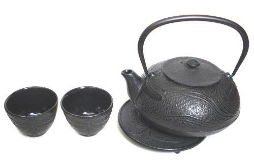 Japanbargain S-2084 Dragonfly Cast Iron Tea Set #Ts12-08, Black
